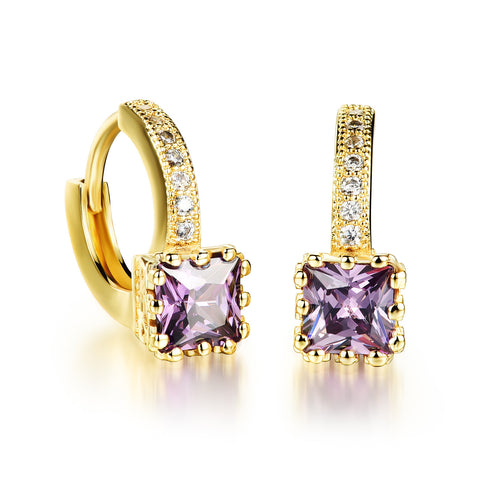 Romantic Woman CZ Crystal Hoop Earrings Geometry Gold Plated Purple/ White Cubic Zirconia wedding party Women Jewelry - onlinejewelleryshopaus