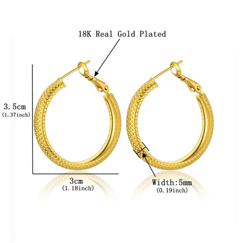 18K Real Gold Plated Unique Round Gold Earrings For Women, Brand Vintage Korean Europe Large Hoop Earrings Wholesale,Brand Gifts - onlinejewelleryshopaus