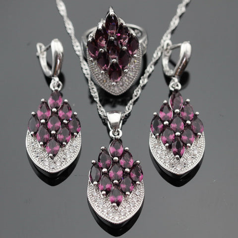 Silver Color Jewelry Sets For Women Created Purple Amethyst White CZ Necklace Pendant Earrings Rings Christmas Free Gift Box - onlinejewelleryshopaus