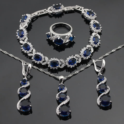 Blue Created Sapphire White Stones Silver Color Jewelry Sets For Women Bracelets Earrings Rings Necklace Pendant Free Gift Box - onlinejewelleryshopaus