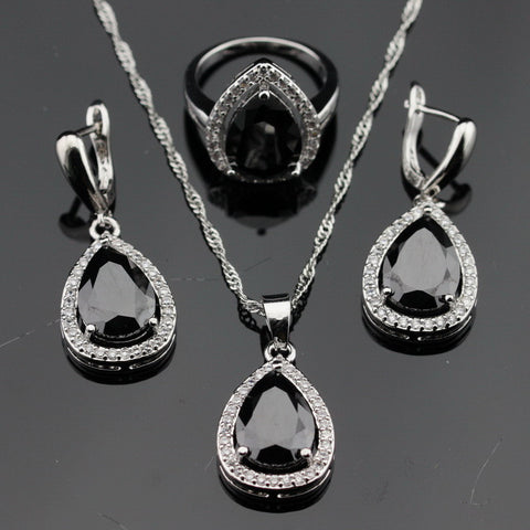 Water Drop White CZ Black Created Sapphire Silver Color Jewelry Sets Necklace/Pendant/Earrings/Rings For Women Free Gift Box - onlinejewelleryshopaus