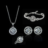 2016 Luxury Wedding Bridal Jewelry Sets amp more for Women AAA Blue Zircon CZ Diamond Necklace& Earrings& Ring&bracelet - onlinejewelleryshopaus