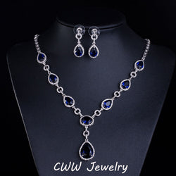 Luxury White Gold Plated AAA+ Swiss CZ Diamond Bridal Royal Blue Sapphire Wedding Jewelry Sets For Brides (T114) - onlinejewelleryshopaus