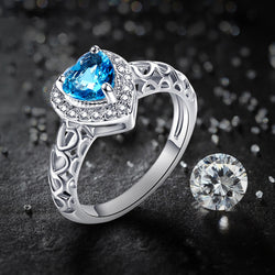 JROSE Engagement Heart Cut Hot Blue & White CZ Silver Plated Ring Size 6 7 8 9 10 11 12 Free Shipping Wholesale Wedding Gift - onlinejewelleryshopaus
