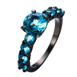Size 5-10 Fashion Aqua Zircon Jewelry Round Cut Light Blue Wedding Ring Women Vintage Black Gold Filled Engagement Rings RB0175 - onlinejewelleryshopaus