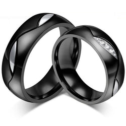 Fashion Black Wedding Rings for Men/Women CZ Couple Ring 316L Stainless Steel Engagement Jewelry - onlinejewelleryshopaus