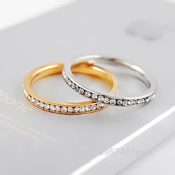 Fashion Thin 2mm Mini Knuckles Crystal Engagement Wedding Rings Fine Jewelry Gold plated Stainless Steel Silver Rings For Women - onlinejewelleryshopaus