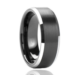8MM Hot Sale Tungsten Black Plated Wedding Ring Size 4-13 For Men - onlinejewelleryshopaus
