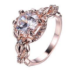 Vintage Fashion White Stone Claw Rings For Women Men Rose Gold Filled CZ Diamond Wedding Ring Crystal Band Jewelry RR0005 - onlinejewelleryshopaus