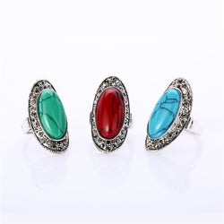 Female Vintage Luxury Oval Turquoise Wedding Rings Cheap Couple Rings Trendy Korean Party Rings Lady's Gifts 5Pcs Hot Sale - onlinejewelleryshopaus