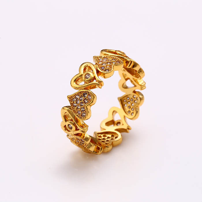 dc1db6aeb Xuping Elegant Rings European Style Beautiful Heart Wedding Rings 24K Gold  Color Plated Synthetic CZ Jewelry