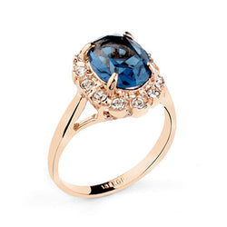 Women Sapphire Jewelry Ring Italina Rigant Plated Rose Gold CZ Diamond Jewelry Wedding Rings For Women 110204 - onlinejewelleryshopaus