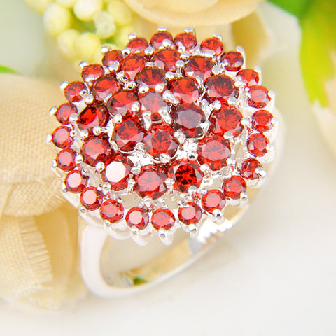 Promotion Jewelry Lucky Shine Fire Full Shine Garnet Silver Plated Wedding Rings Russia USA Holiday Gift Australia Rings - onlinejewelleryshopaus