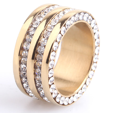 10mm gold silver two row crystal 316L Stainless Steel wedding rings for men women jewelry - onlinejewelleryshopaus