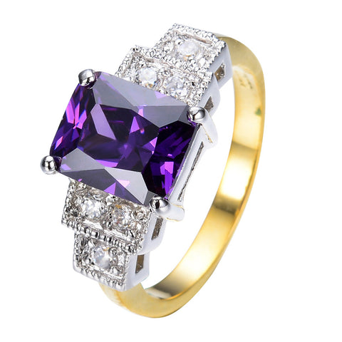 Vintage CZ Jewelry Noble Purple Wedding Ring For Women/Men White&Yellow Gold Filled Engagement Rings Anel Aneis RW0322 - onlinejewelleryshopaus