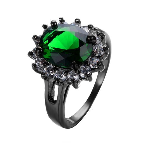 Charming Big Sunflower Green Ring White CZ Around Men Women Party Jewelry Black Gold Filled Wedding Rings Bague Femme RB0436 - onlinejewelleryshopaus