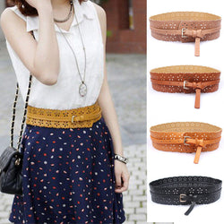 Fashion 1 Pc 6 Colors Women Charming Hollow Flowers PU Leather Waist Belt Adjustable buckle Waistband - onlinejewelleryshopaus
