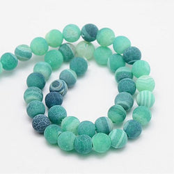 Frosted Natural Effloresce Agate Stone Beads for DIY Jewelry Making Round 8mm Loose Beads Fit Handmade Bracelets About 46pcs - onlinejewelleryshopaus