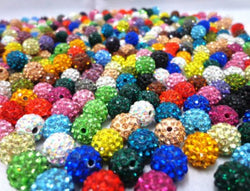 10mm 100pcs/lot Mixed color in random Micro Pave Disco Ball Crystal Shamballa Beads.jewerly making bead Lot!Bracelet DIY jewelry - onlinejewelleryshopaus