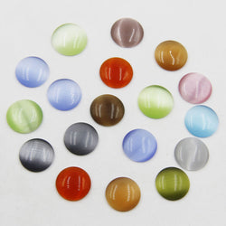 200pcs 8mm Mixed color flatback cat eye stone cabochon round beads DIY opal round beads for jewelry making P00581 - onlinejewelleryshopaus