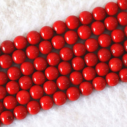 "Charming imitation red coral 6mm 8mm 10mm 12mm 14mm round loose beads women diy fine jewelry making 15""B610 - onlinejewelleryshopaus"