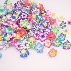 50pc/lot 15mm Small Polymer Clay Fimo Plumeria frangipani Flower Beads Multicolor Mixed Diy Bracelet Hawaii Jewelry Craft Making - onlinejewelleryshopaus