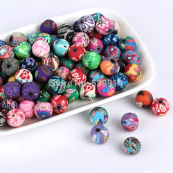 200pcs/lot Assorted Colors 6mm Polymer Clay Bead Ball Round Fimo Diy Jewelry Components Spacer Beads Jewellery Making Materials - onlinejewelleryshopaus