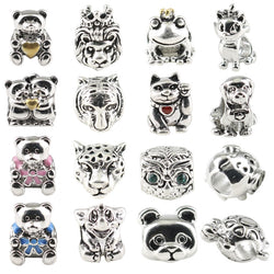 Original Beads Antique Silver Charms Bear Owl Frog Animal Pattern for Women Charm Bracelets Beaded Jewelry Making - onlinejewelleryshopaus