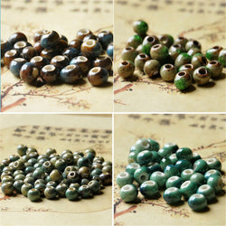 8mm Ice Crack Loose Bead Porcelain Ceramic Beads Handmade Hole Beads For Jewelry Making 100 PCS he181 - onlinejewelleryshopaus