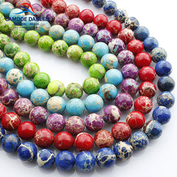 Nature Stone Red/Purple/Green/Blue/ Sea Sediment Jasper Beads For Jewelry Making Diy Necklace Bracelet Jewellery Materials HS15 - onlinejewelleryshopaus