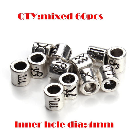 60pcs/lot Mixed Antique Silver Plated Zodiac Round Charm Beads 4mm Big Hole Spacer Beads Fit DIY Jewelry Making Findings F3061 - onlinejewelleryshopaus