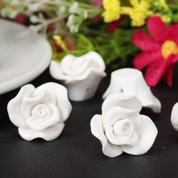 15pc/lot 20mm White Fimo Polymer Clay Beautiful Flower Beads For Sale Diy Wedding Headwear veil Craft Jewelry Making Accessories - onlinejewelleryshopaus