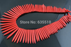 1 strand Red Color Howlite Turquoise Spike Beads Stone Stick Loose Beads fit Jewelry Making - onlinejewelleryshopaus