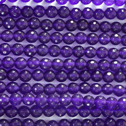 Hot sale romantic women faceted round amethyst purple stone loose beads 4 6 8 10mm jewelry making 15inch B03 - onlinejewelleryshopaus