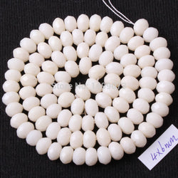 "FREE SHIPPING DIY NECKLACE BRACELAT JEWELRY MAKING 4 X 6MM FACETED RONDELLE SHAPE NATURAL WHITE CORAL BEADS STRAND 15"" - onlinejewelleryshopaus"