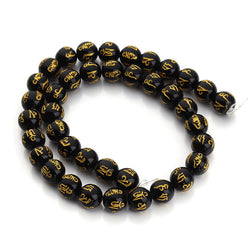 Round Black Agate Beads with Tibetan Buddhist Six Words Mantras Beads Natural Stone Beads for Jewelry beads Strand Making F2959 - onlinejewelleryshopaus