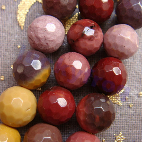 Hot Sale 8mm Faceted Natural Mookaite Gem Cut Ball Round Loose Beads For Jewelry Making 47pcs/lot - onlinejewelleryshopaus