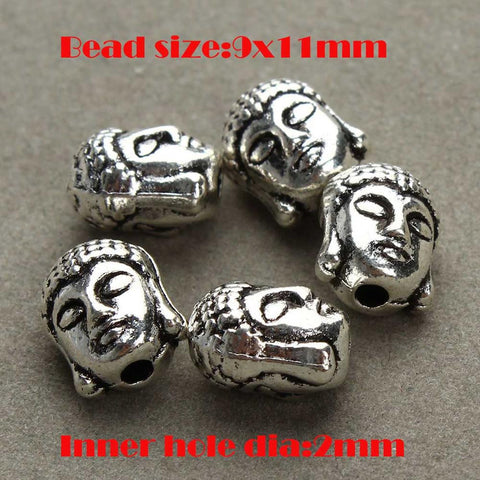 20pcs/lot Metal Silver Buddha Head Beads Silver Tibetan Gold Spacer Beads for Women Men DIY Bracelets Jewelry Making 2 Style - onlinejewelleryshopaus