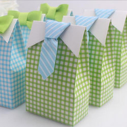 24pcs My Little Man Blue Green Bow Tie Birthday Boy Baby Shower Favor Candy Treat Bag Wedding Favors Candy Box Gift Bags - onlinejewelleryshopaus