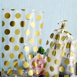 100Pcs/lot Gold Polka Dot Transparent Cookies Bags Cellophane Bag Candy Bags Gift Bags Wrapping Supplies - onlinejewelleryshopaus