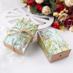 50Pcs/lot Vintage Wedding Candy Box Kraft Paper World Map Gift Bag for Wedding Favors and Gifts Boxes with Burlap Twine Chic - onlinejewelleryshopaus