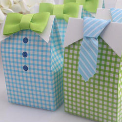 Big Sale 20 pcs Little Man Blue Green Bow Tie Birthday Boy Baby Shower Favor Candy Treat Bag Wedding Favors Candy Box Gift Bag - onlinejewelleryshopaus