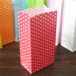 Stand up Colorful Polka Dots Set of 10 Kraft Paper craft Gift Bags Sandwich Bread Food Bags Party Wedding Favor Bag Open Top - onlinejewelleryshopaus