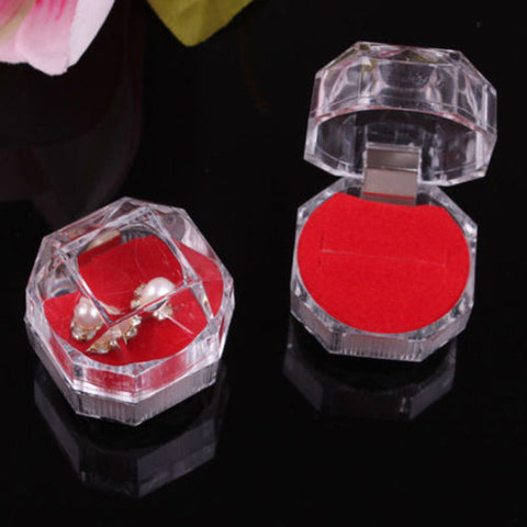 10X Jewelry Pretty Clear Acrylic Crystal Ring Earrings Boxes Gift Cases Holders - onlinejewelleryshopaus