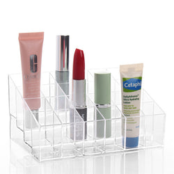New Arrival High Quality 24 Trapezoid Clear Acrylic Makeup Display Lipstick Stand Case Cosmetic Organizer - onlinejewelleryshopaus