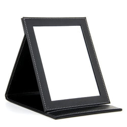 "JEYL 2X Black Folding Leather Table Hand Compact Makeup Mirror 9.1x7.1"" - onlinejewelleryshopaus"