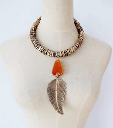 2016 Collar ZA Necklaces & Pendants Vintage Big Leaves Statement Necklace Collier Femme Boho Fashion Women Jewellery - onlinejewelleryshopaus