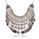 Tassel Coin Maxi Necklace Vintage Geometric Statement Necklaces Woman Silver Jewellery Big Chunky Neclace - onlinejewelleryshopaus