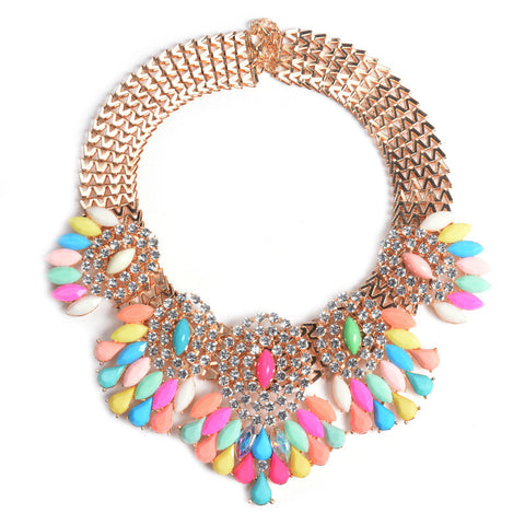brand jewelry crystal big Flower chunky choker Necklace 2016 vintage collar necklaces women - onlinejewelleryshopaus