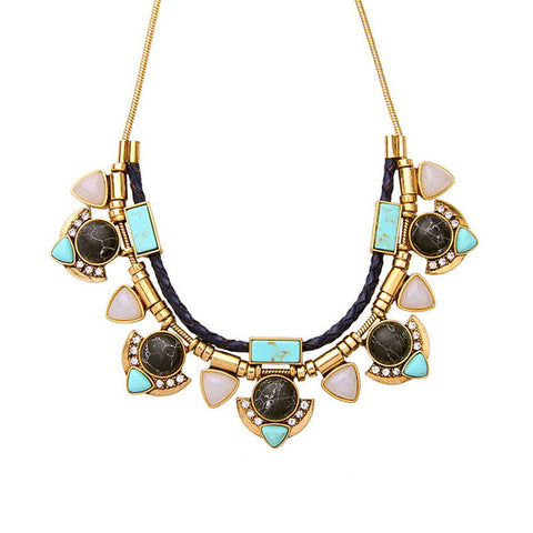 Brand Capri Convertible Statement Necklace for Women Semi-precious Turquoise + Marbled Black Stone Necklace Jewelry Wholesale - onlinejewelleryshopaus